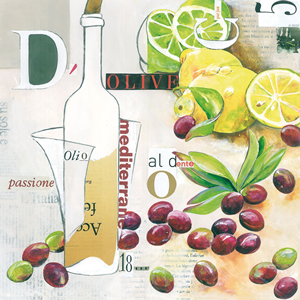 Lunch Servietten Olive Collage,  Regionen - Länder - Italien,  Früchte - Südfrüchte,  Früchte - Oliven,  lunchservietten