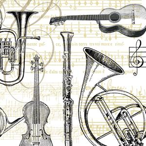 Lunch Servietten Concerto ivory,  Sonstiges - Musik,  Everyday,  lunchservietten,  Gitarre,  Geige,  Klarinette