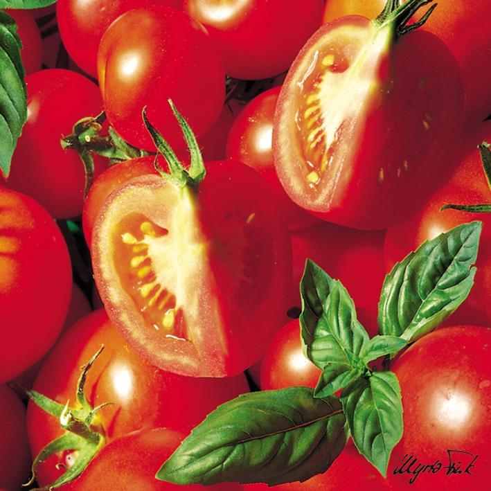 20 Servietten - 33 x 33 cm ,  Gemüse - Tomaten,  Everyday,  lunchservietten,  Tomaten,  Basilikum