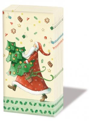 10 bedruckte Taschentücher ,  Weihnachten,  Weihnachten,  bedruckte papiertaschentücher,  Weihnachtsmann,  Weihnachtsbaum