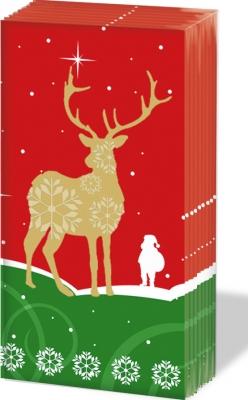 Taschentücher Santa´s Deer red,  Tiere,  Weihnachten,  Weihnachten,  bedruckte papiertaschentücher,  Hirsch