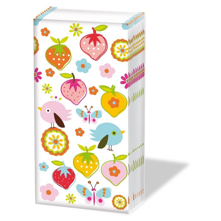Taschentücher Strawberries white,  Blumen,  Tiere,  Everyday,  bedruckte papiertaschentücher