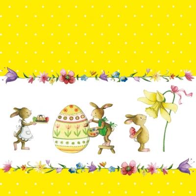 Lunch Servietten Painting Easter Bunnies