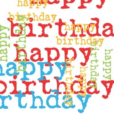 Cocktail Servietten Birthday Graphic Multi             ,  Ereignisse - Geburtstag,  Sonstiges - Schriften,  Everyday,  cocktail servietten,  Geburtstag