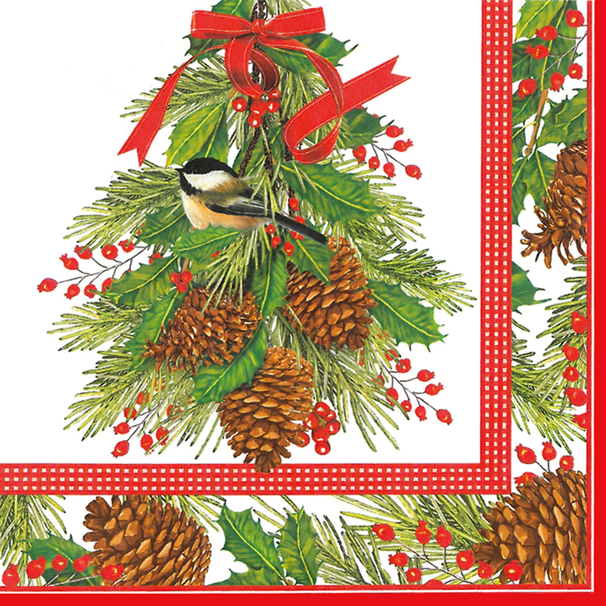 Lunch Servietten Holly and Pine                  ,  Pflanzen - Ilex,  Früchte - Äpfel,  Weihnachten,  lunchservietten,  Zapfen,  Ilex