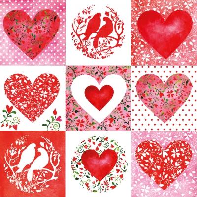 Lunch Servietten Red Hearts,  Tiere - Vögel,  Ereignisse - Liebe,  Everyday,  lunchservietten,  Herzen,  Tauben