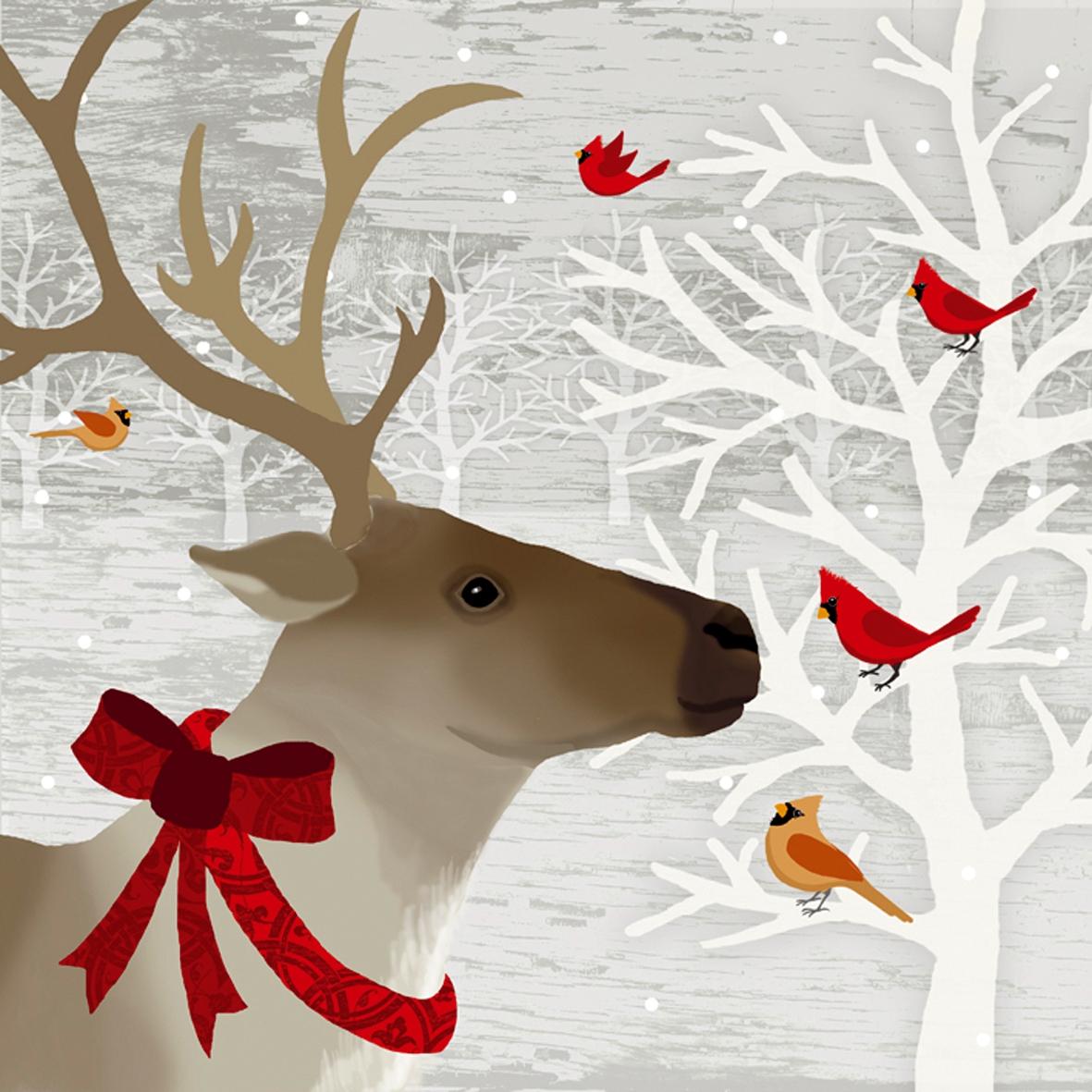 Servietten Tiermotive,  Tiere - Vögel,  Tiere - Reh / Hirsch,  Weihnachten,  lunchservietten,  Hirsch,  Vögel