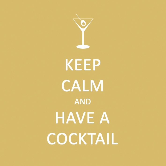 Cocktail Servietten Keep Calm... Cocktail           ,   geprägte Servietten,  Sonstiges - Schriften,  Everyday,  cocktail servietten,  Schriften,  lustig