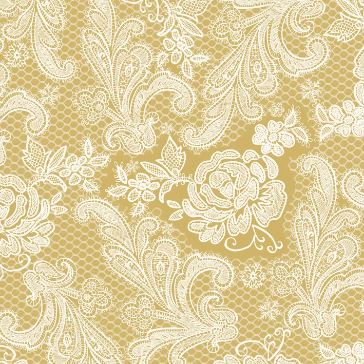 Lunch Servietten Lace Royal gold white            ,   Einfarbige Servietten,   geprägte Servietten,   geprägte Servietten,  Everyday,  lunchservietten