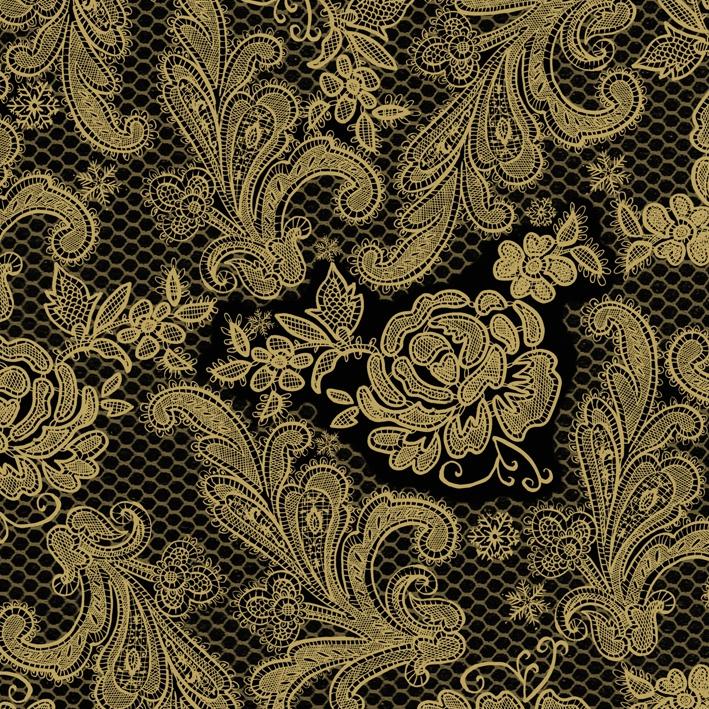 Lunch Servietten Lace Royal black gold
