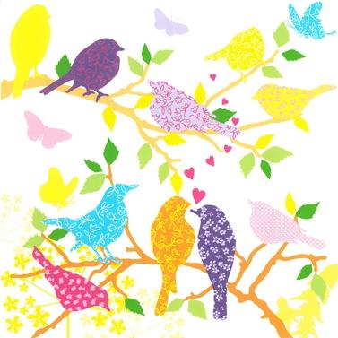 Lunch Servietten Bird in Love