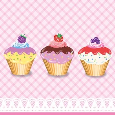 Lunch Servietten Party Cupcakes,  Essen - Süßigkeiten,  Früchte -  Sonstige,  Essen - Kuchen / Keks,  Everyday,  lunchservietten