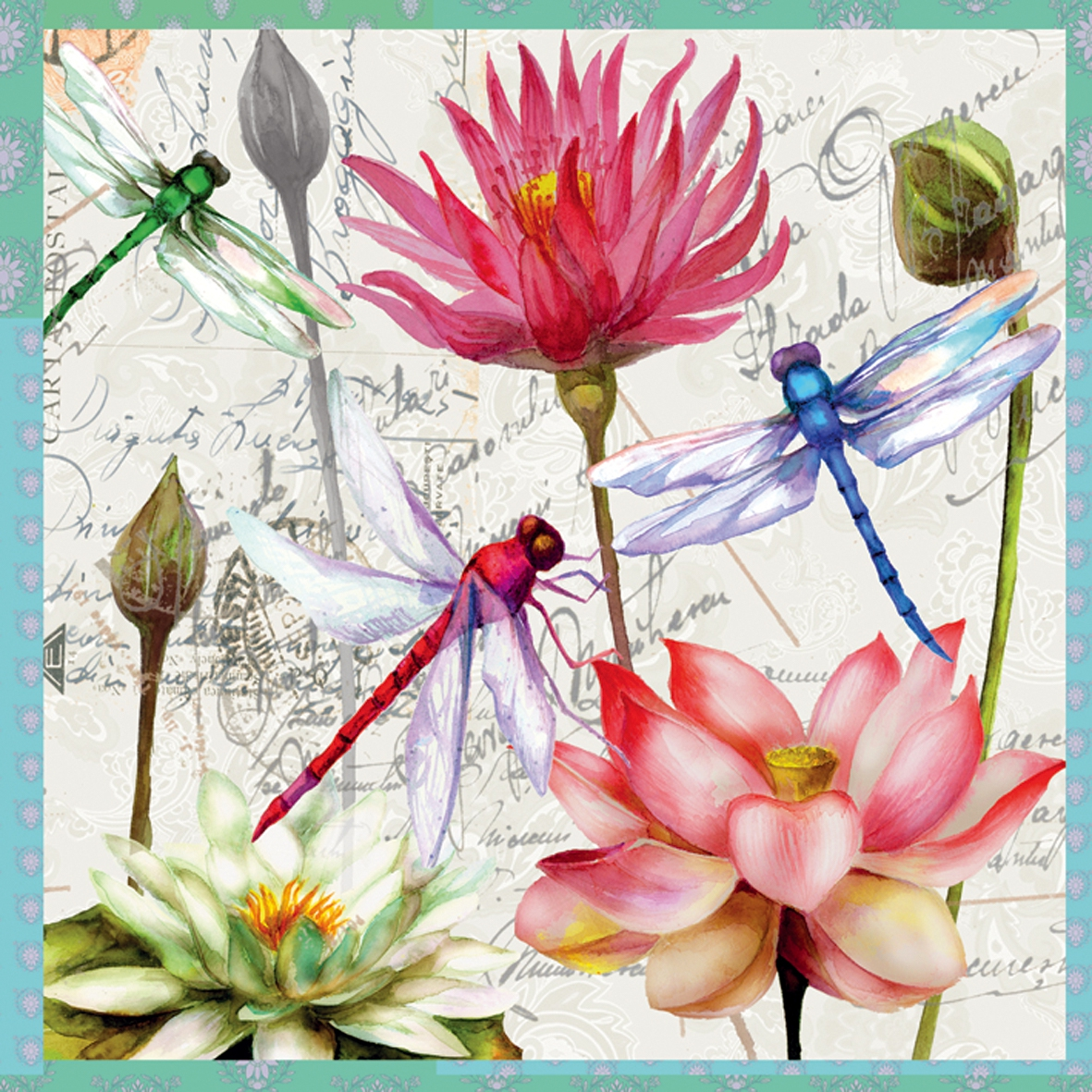 Servietten / Sonstige Blumen,  Blumen -  Sonstige,  Blumen - Seerosen,  Blumen,  Everyday,  lunchservietten,  Insekten,  Libelle