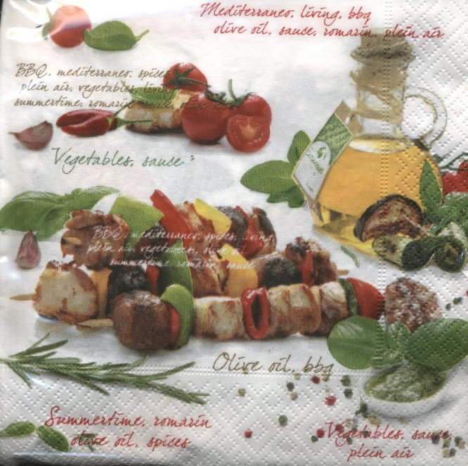 Lunch Servietten Barbecue,  Sonstiges - Schriften,  Essen - Fleisch,  Gemüse - Tomaten,  Everyday,  lunchservietten