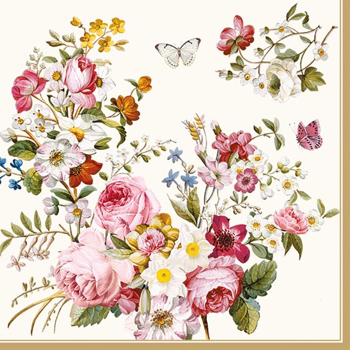 Lunch Servietten Blooming Opulence Cream,  Blumen - Rosen,  Everyday,  lunchservietten,  Rosen,  Schmetterlinge