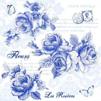 Lunch Servietten Blue Roses,  Blumen - Rosen,  Everyday,  lunchservietten