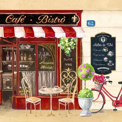 Lunch Servietten Café Bistrò,  Sonstiges - Schriften,  Getränke Kaffee / Tee,  Everyday,  lunchservietten,  Blumen,  Kaffee