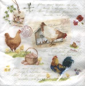 Lunch Servietten Country Life,  Sonstiges - Schriften,  Tiere - Huhn / Hahn,  Frühjahr,  lunchservietten,  Hühner,  Hahn