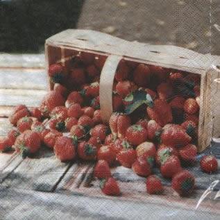 Lunch Servietten Fraises,  Früchte - Erdbeeren,  lunchservietten