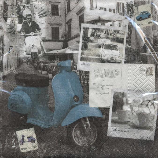 Lunch Servietten La Dolce Vita,  Sonstiges -  Sonstiges,  Everyday,  lunchservietten,  Fahrzeuge,  Roller
