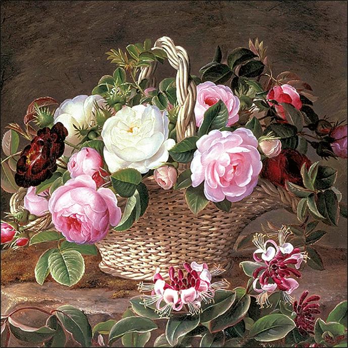Lunch Servietten Old England Roses,  Blumen - Rosen,  Everyday,  lunchservietten
