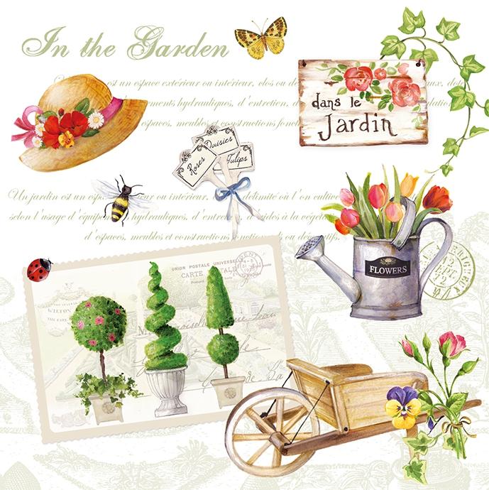Lunch Servietten Gardening,  Pflanzen - Efeu,  Blumen - Tulpen,  Frühjahr,  lunchservietten