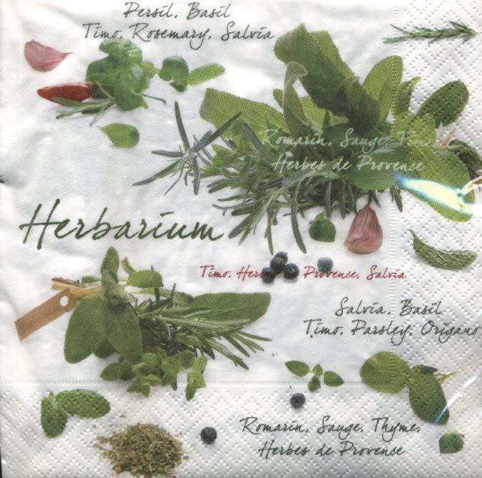 Lunch Servietten Herbarium,  Pflanzen - Küchenkräuter,  Everyday,  lunchservietten