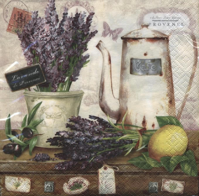Lunch Servietten Lavande de Provence,  Tiere - Schmetterlinge,  Früchte - Südfrüchte,  Blumen - Lavendel,  Everyday,  lunchservietten