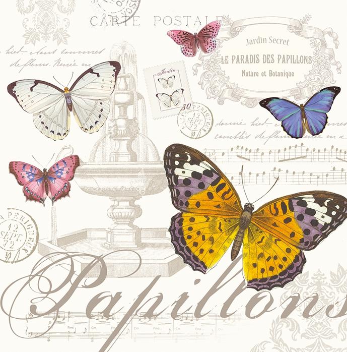 Lunch Servietten Papillons,  Sonstiges - Schriften,  Tiere - Schmetterlinge,  Everyday,  lunchservietten