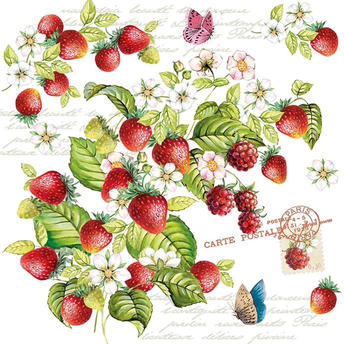 Lunch Servietten Romantic Strawberry,  Früchte - Himbeeren,  Tiere - Schmetterlinge,  Früchte - Erdbeeren,  Everyday,  lunchservietten