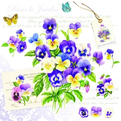 Lunch Servietten Romantic Violets,  Sonstiges - Schriften,  Blumen - Stiefmütterchen,  Blumen -  Sonstige,  Everyday,  lunchservietten