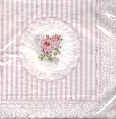 Lunch Servietten Belle Maison Rose,  Blumen - Rosen,  Everyday,  lunchservietten,  Rosen,  Streifen
