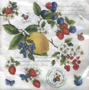 Lunch Servietten Secret Garden,  Früchte - Johannisbeeren,  Früchte - Himbeeren,  Früchte - Erdbeeren,  Everyday,  lunchservietten,  Zitronen,  Erdbeeren,  Himbeeren