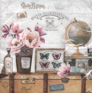 Servietten Tiermotive,  Sonstiges - Schriften,  Tiere - Schmetterlinge,  Blumen - Magnolien,  Everyday,  lunchservietten,  Magnolien,  Schmetterlinge,  Globus