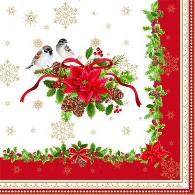Lunch Servietten Spirit of Christmas,  Tiere - Vögel,  Winter - Kristalle / Flocken,  Weihnachten - Weihnachtsstern,  Weihnachten,  lunchservietten,  Vögel,  Schneeflocken,  Weihnachtsstern