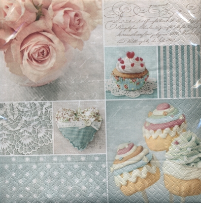Lunch Servietten VINTAGE CUPCAKES,  Essen - Kuchen / Keks,  Everyday,  lunchservietten,  Kuchen