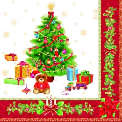 Lunch Servietten Christmas Red,  Weihnachten - Geschenke,  Weihnachten - Weihnachtsbaum,  Weihnachten,  lunchservietten,  Weihnachtsbaum,  Geschenke