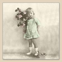 Sagen Vintage Design,  Blumen - Rosen,  Menschen - Kinder,  Blumen -  Sonstige,  Everyday,  lunchservietten
