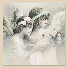 Lunch Servietten Flower angels,  Weihnachten - Engel,  Menschen - Kinder,  Blumen -  Sonstige,  Everyday,  lunchservietten