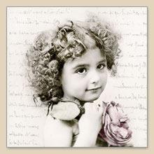 Lunch Servietten French girl,  Blumen -  Sonstige,  Sonstiges - Schriften,  Menschen - Kinder,  Everyday,  lunchservietten
