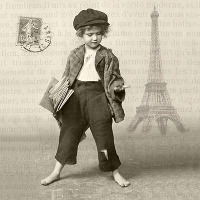 Lunch Servietten Newspaper Boy,  Menschen - Kinder,  Sonstiges - Bilder / Gemälde,  Regionen - Länder - Frankreich,  Everyday,  lunchservietten,  Paris