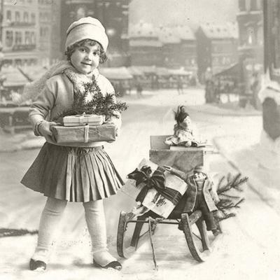 Servietten Winter,  Weihnachten - Geschenke,  Winter - Schlitten,  Everyday,  lunchservietten,  Schlitten,  Mädchen,  Geschenke