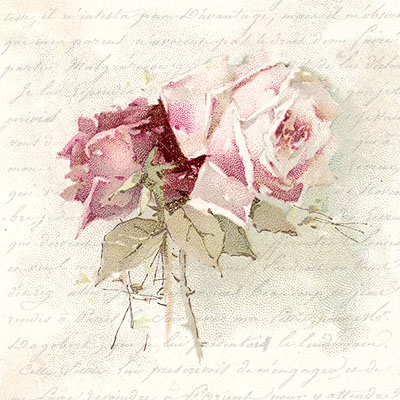 Lunch Servietten Vintage Rose Poem,  Blumen - Rosen,  Sommer,  lunchservietten,  Rosen