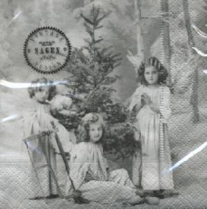 Cocktail Servietten 3 Christmas Angels,  Weihnachten - Engel,  Menschen - Kinder,  Weihnachten - Weihnachtsbaum,  Everyday,  cocktail servietten,  Weihnachtsbaum,  Kinder,  Mädchen,  Engel