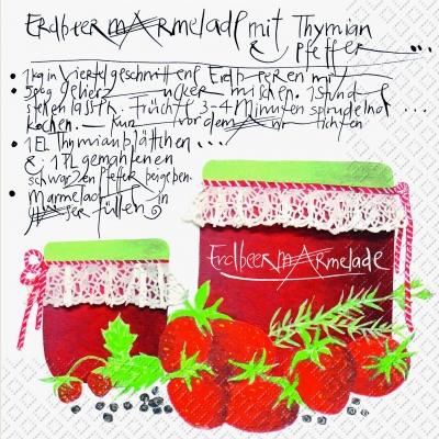 Servietten ,  Früchte - Erdbeeren,  Essen -  Sonstiges,  Everyday,  lunchservietten,  Marmelade,  Erdbeeren