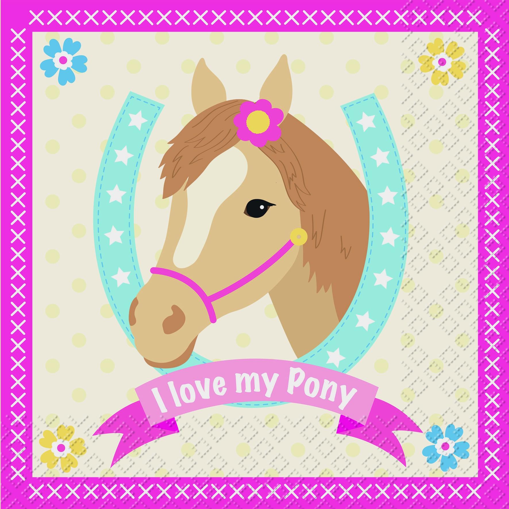 Lunch Servietten Pony,  Sonstiges - Schriften,  Tiere - Pferde,  Everyday,  lunchservietten,  Pferde,  Schriften