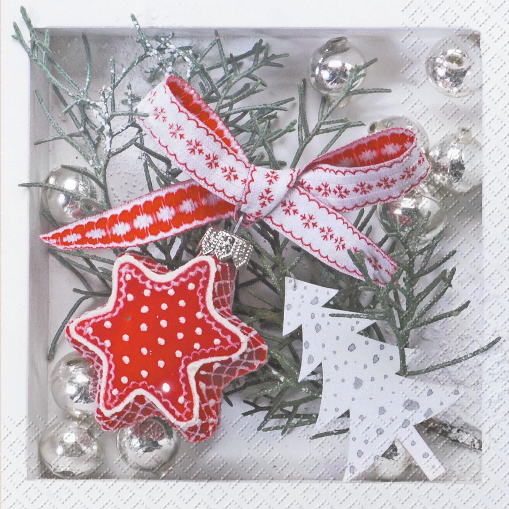 Lunch Servietten Anders ,  Weihnachten - Sterne,  Weihnachten - Weihnachtsbaum,  Weihnachten - Baumschmuck,  Weihnachten,  lunchservietten,  Sterne,  Zweige,  Tannenbaum