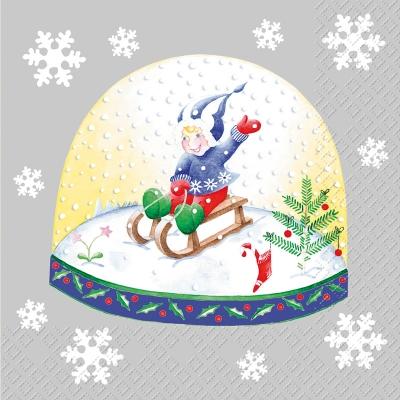 Lunch Servietten Norina ,  Menschen - Kinder,  Winter - Schlitten,  Winter - Kristalle / Flocken,  Weihnachten,  lunchservietten,  Kinder,  Schneeflocken,  Schlitten