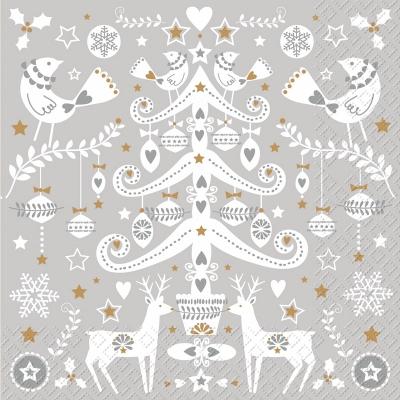 Lunch Servietten Malmö , Tiere - Vögel,  Weihnachten - Sterne,  Winter - Kristalle / Flocken,  Weihnachten - Baumschmuck,  Weihnachten,  lunchservietten,  Herzen,  Kugeln,  Sterne,  Schneeflocken,  Hirsch
