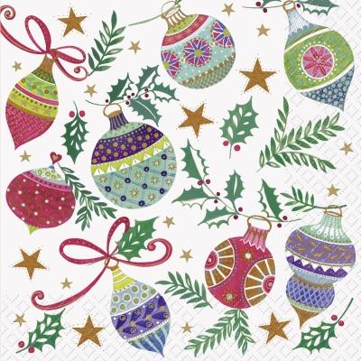 Lunch Servietten Frederika F,  Weihnachten - Sterne,  Pflanzen - Ilex,  Weihnachten - Baumschmuck,  Weihnachten,  lunchservietten,  Sterne,  Kugeln,  Baumschmuck,  Ilex